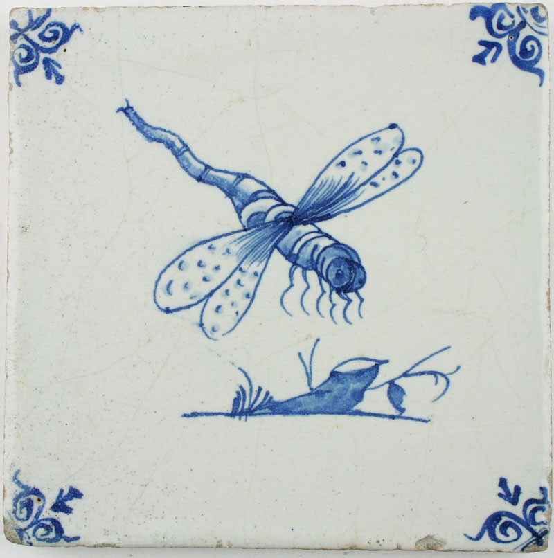 Antique Dutch Delft Tile In Blue With A Dragonfly 17th Century Regts Antique Tiles