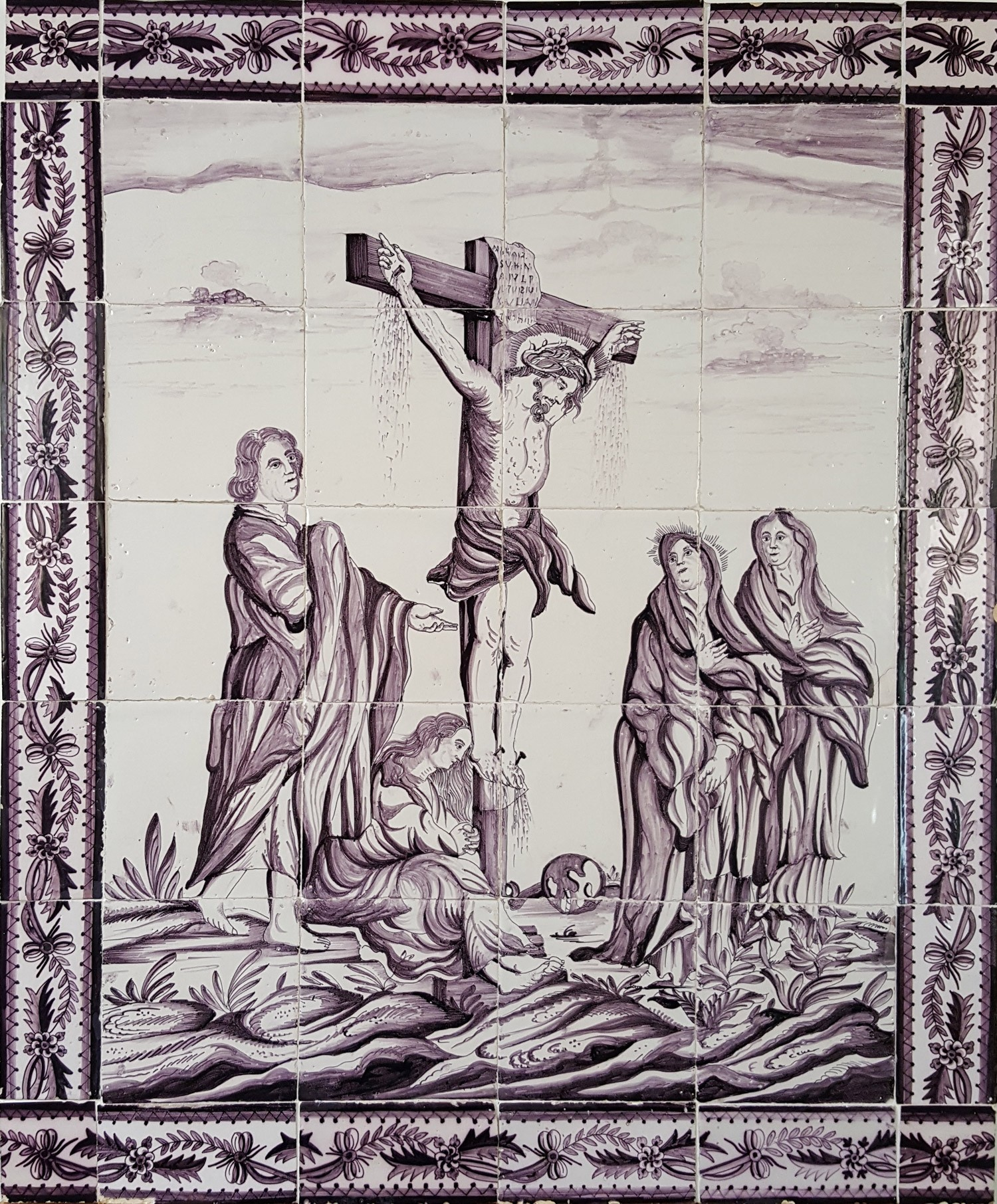 antique dutch tile mural with the crucifixion of jesus 18th