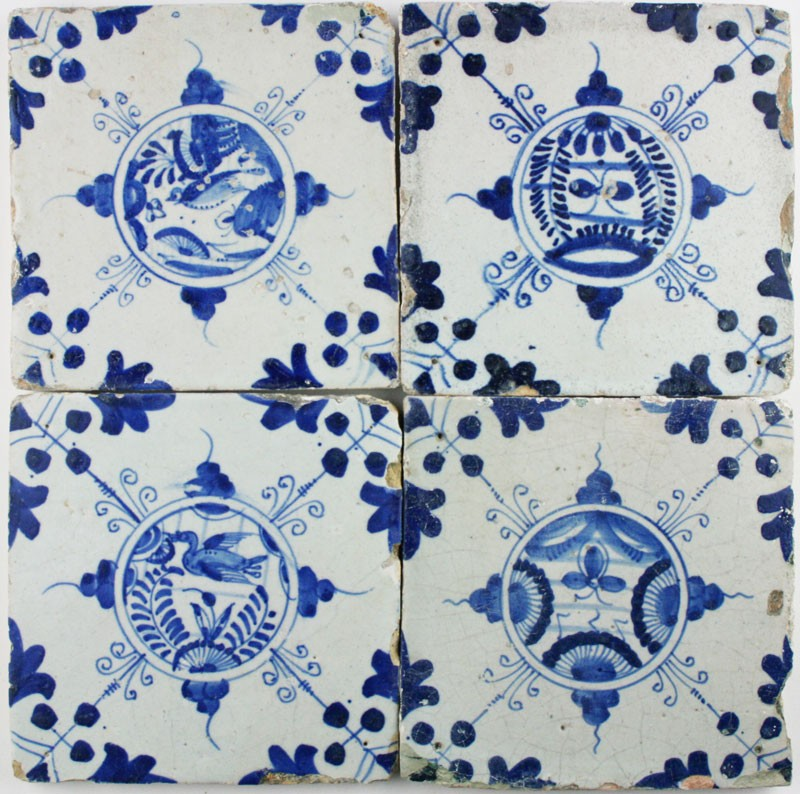 Antique Dutch Delft Wall Tiles With