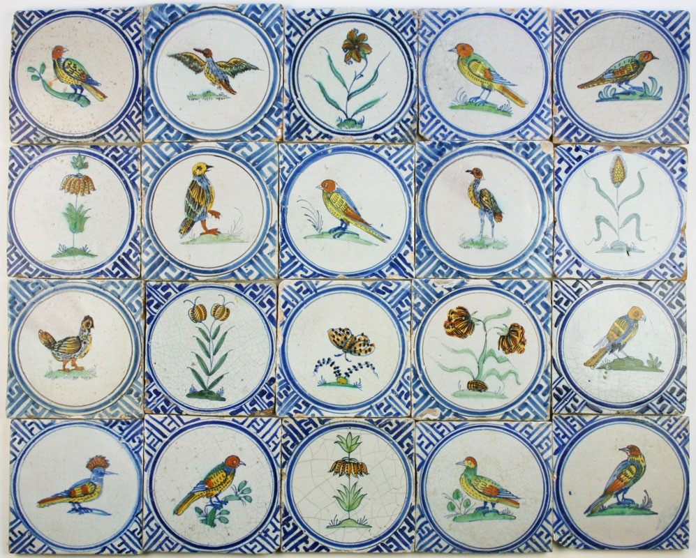 Exclusive Field Of 17th Century Polychrome Dutch Delft Wall Tiles With