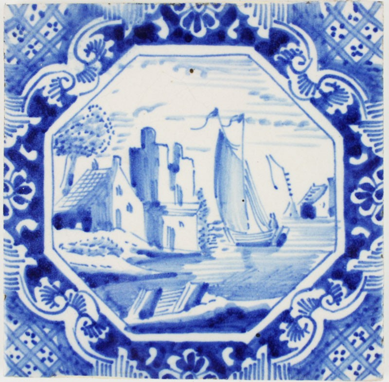 Antique Delft Wall Tiles In Blue With Various Landscape