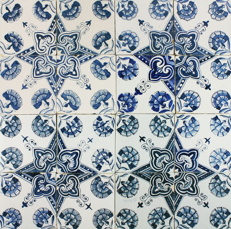 Antique Dutch Delft Wall Tiles In Blue With Dianthus