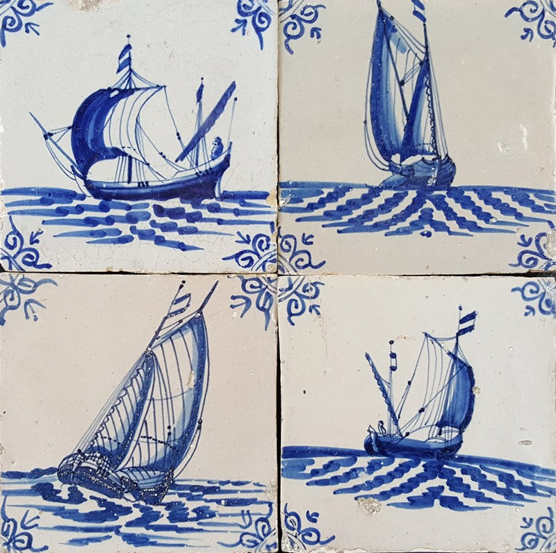 Antique Dutch Wall Tiles With Ships And Boats Nautical Original 17th
