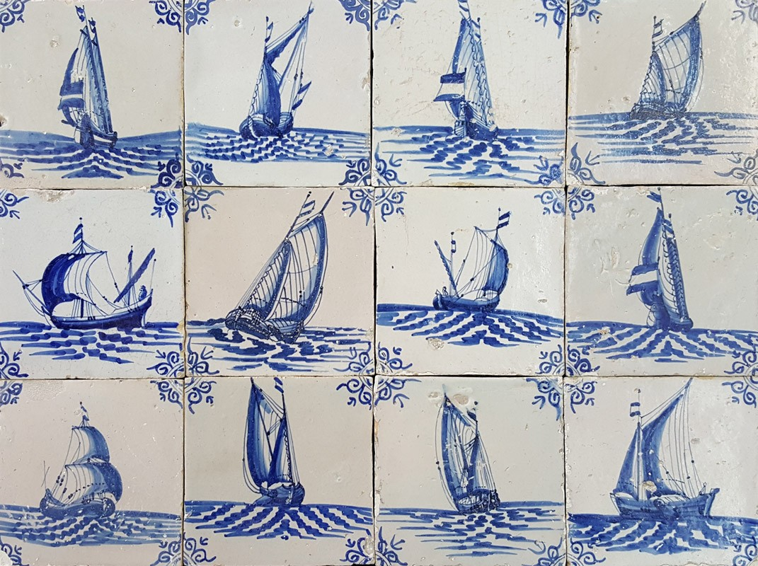 Antique Dutch Wall Tiles With Ships And Boats Nautical