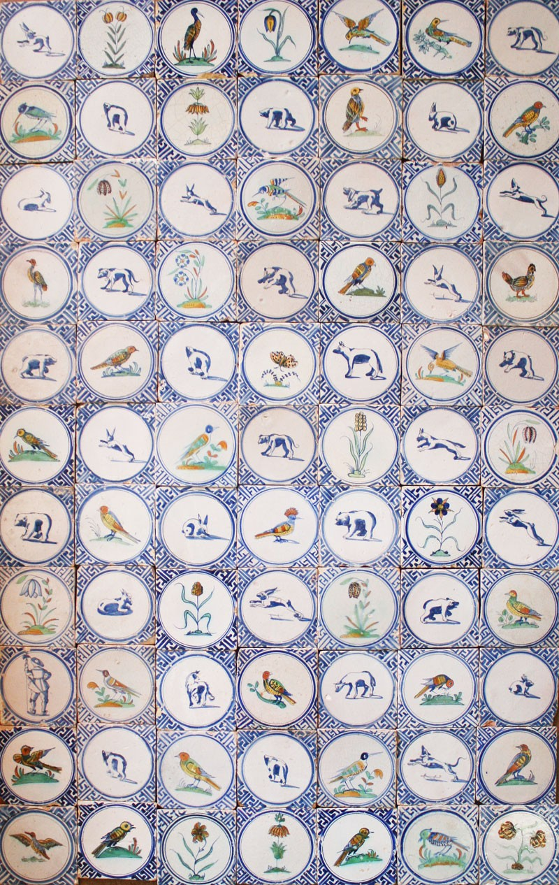 Exclusive field of 17th century polychrome Dutch Delft wall tiles ...