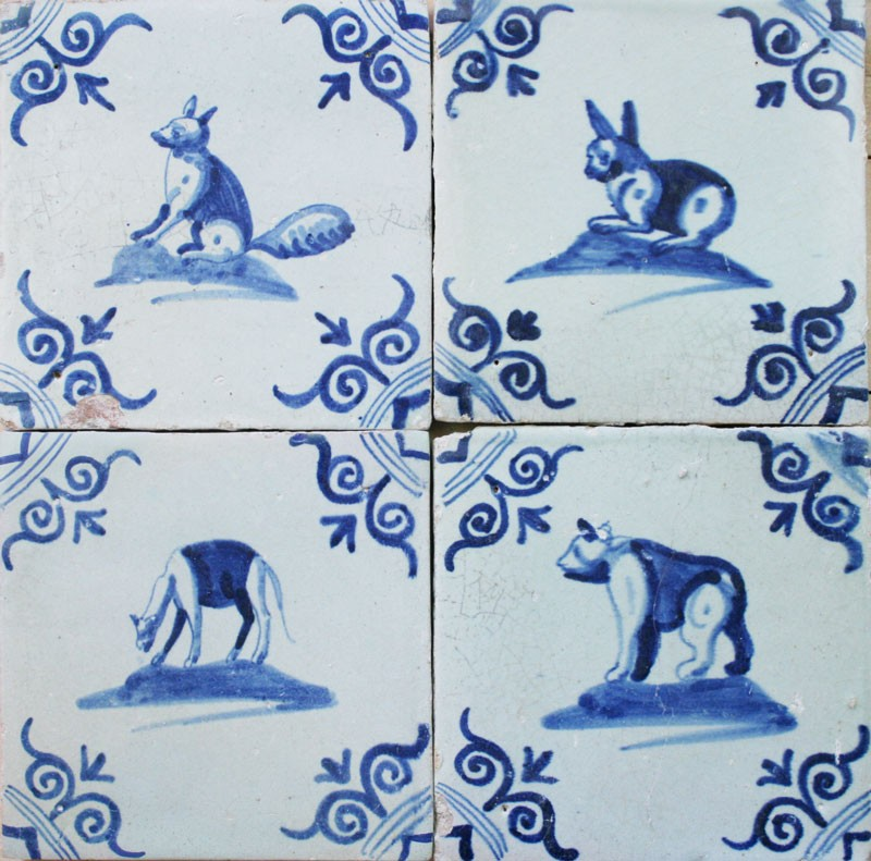 Antique Dutch Delft Wall Tiles With Animals In Blue 17th