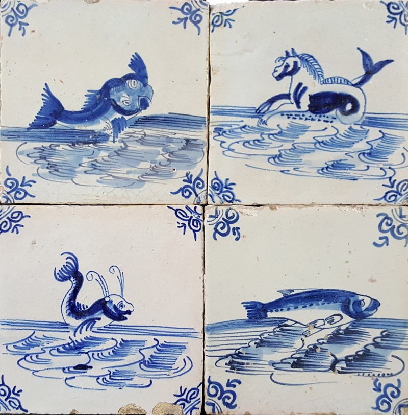 Antique Dutch Delft Wall Tiles With Fish And Other Sea