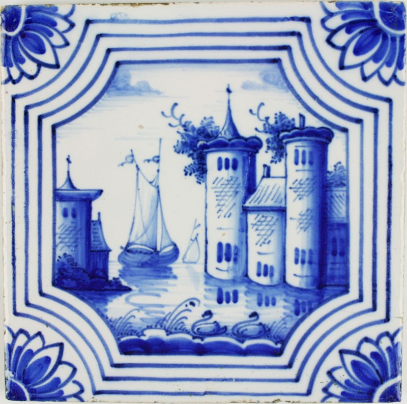 Antique Dutch Delft Wall Tiles In Blue With Maritime And