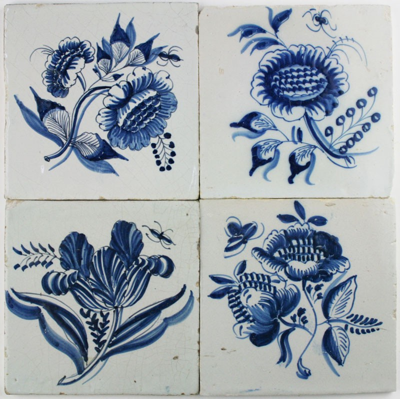 Antique Dutch Delft wall tiles with large flowers in blue | Regts ...