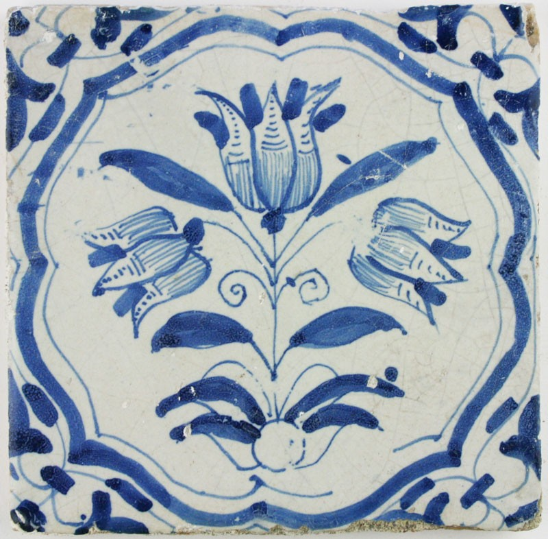 Antique Dutch Delft Wall Tiles With Three Headed Tulips