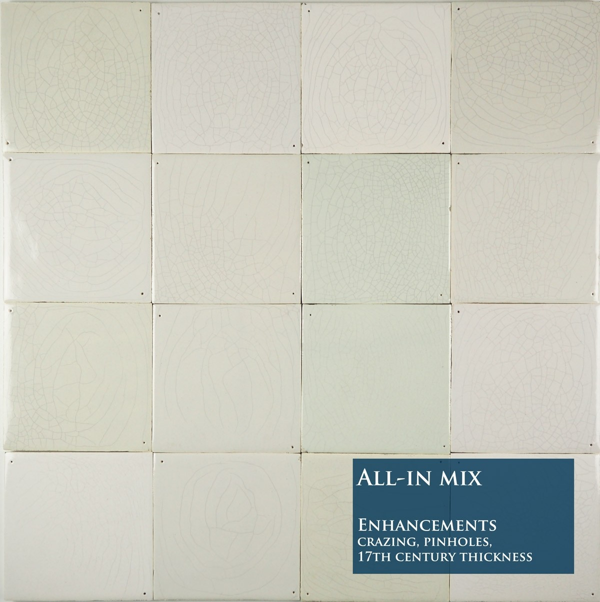 Delft plain white wall tiles in a colourful mix with all shades ...