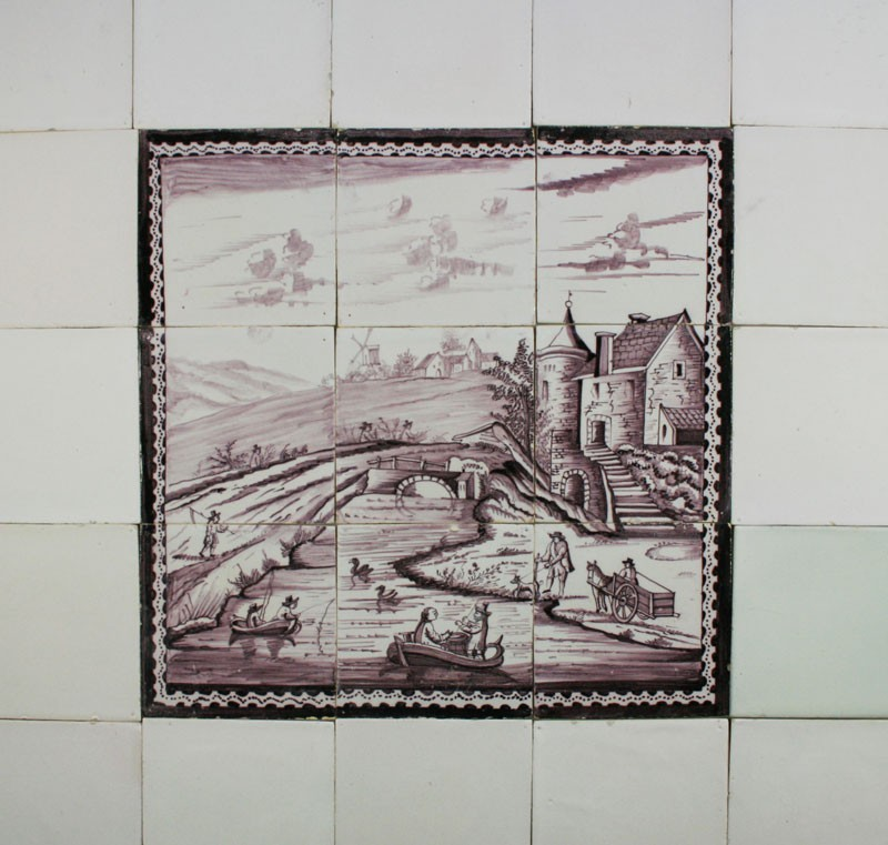 Antique dutch tile mural with boats and village c 1800 for Delft tile mural