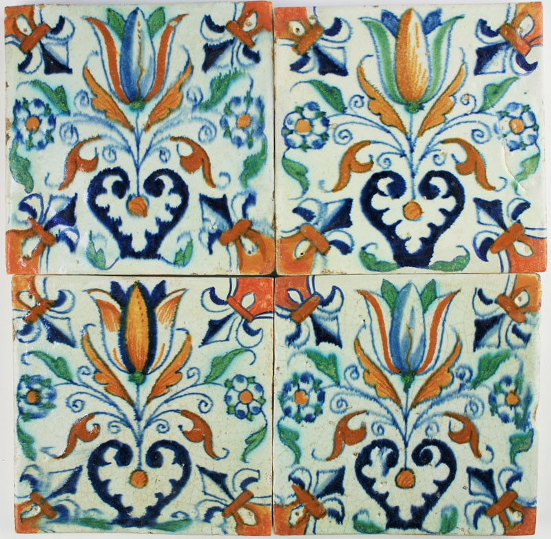 Four Dutch Delft Polychrome Tiles With Tulip Hearts And Lily Corner Patterns Regts