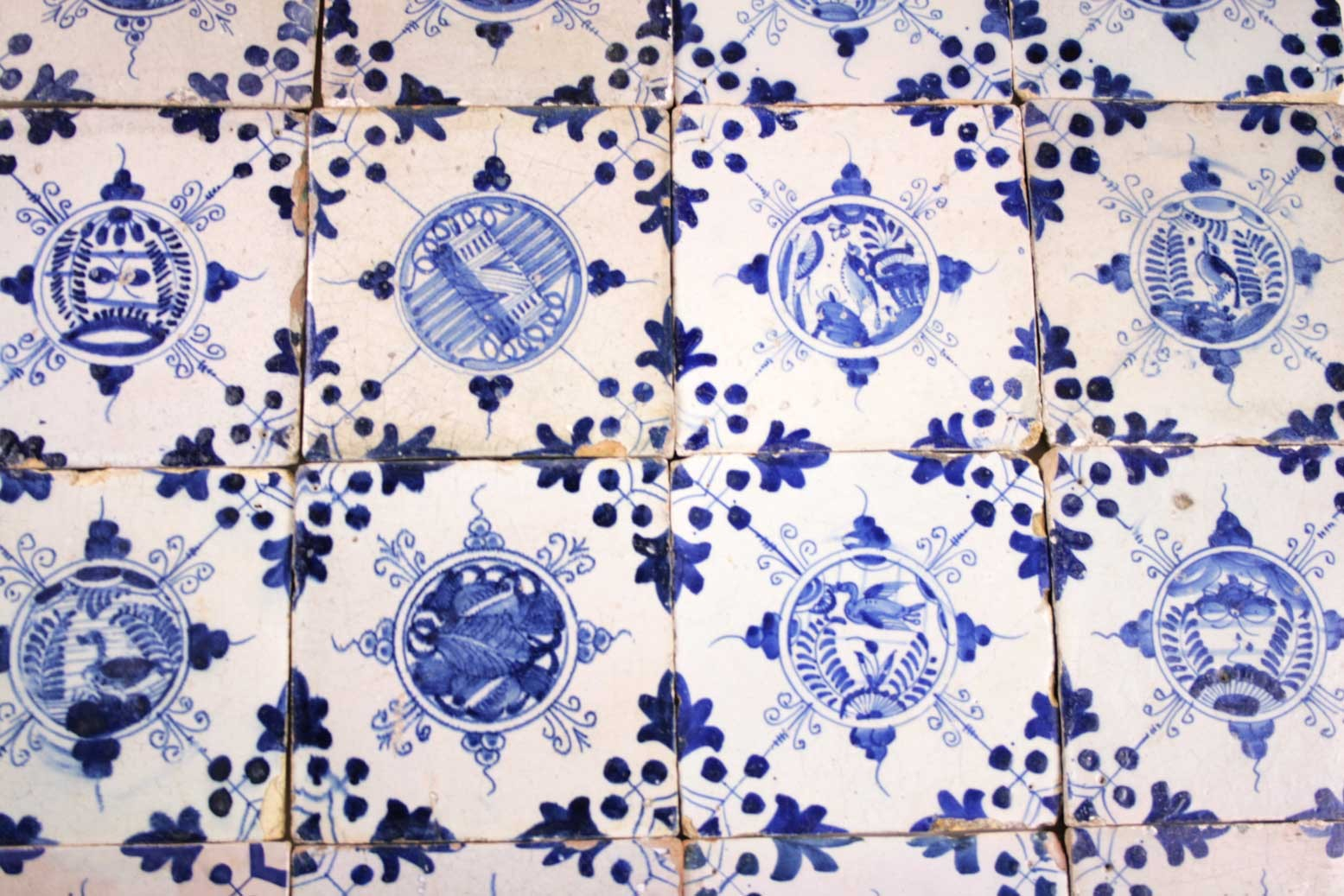 Antique Dutch Delft Wall Tiles With Chinese Gardens In