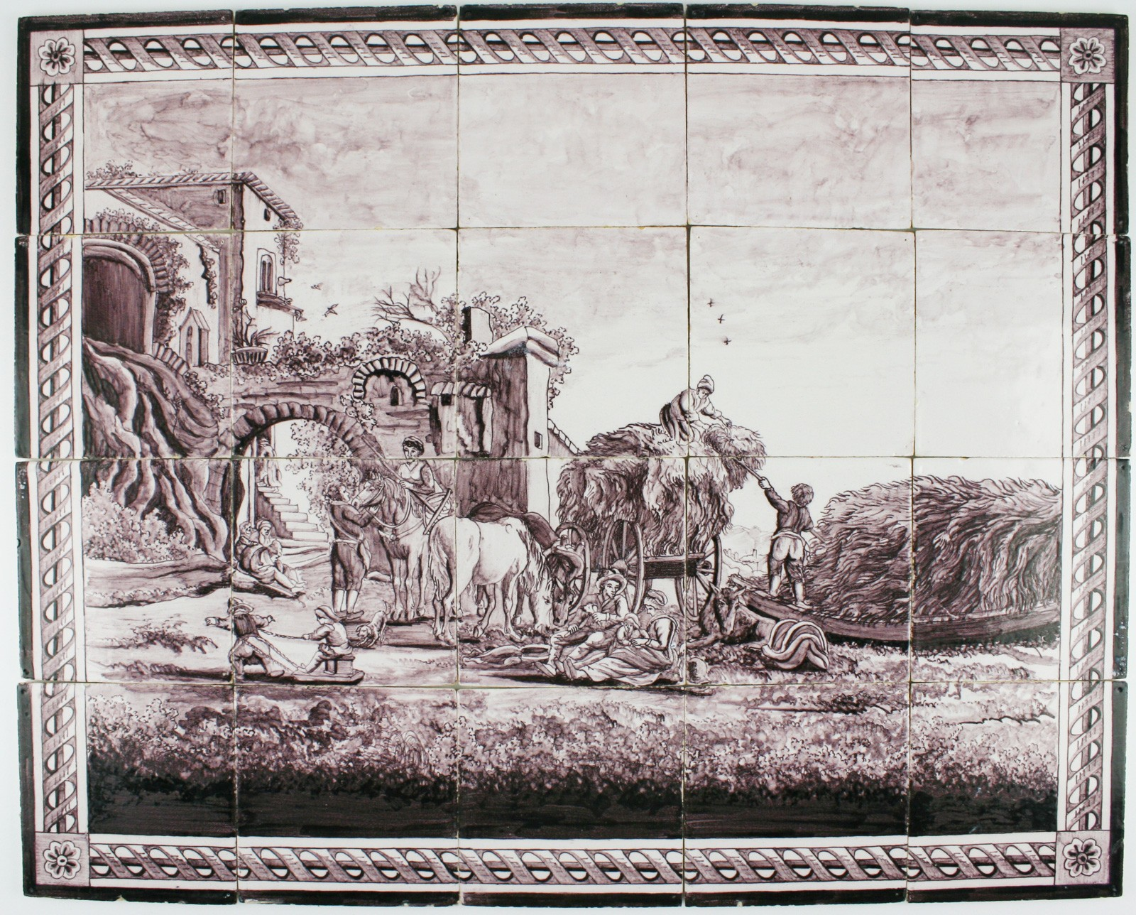 Manganese antique delft tile mural depicting a landscape for Delft tile mural