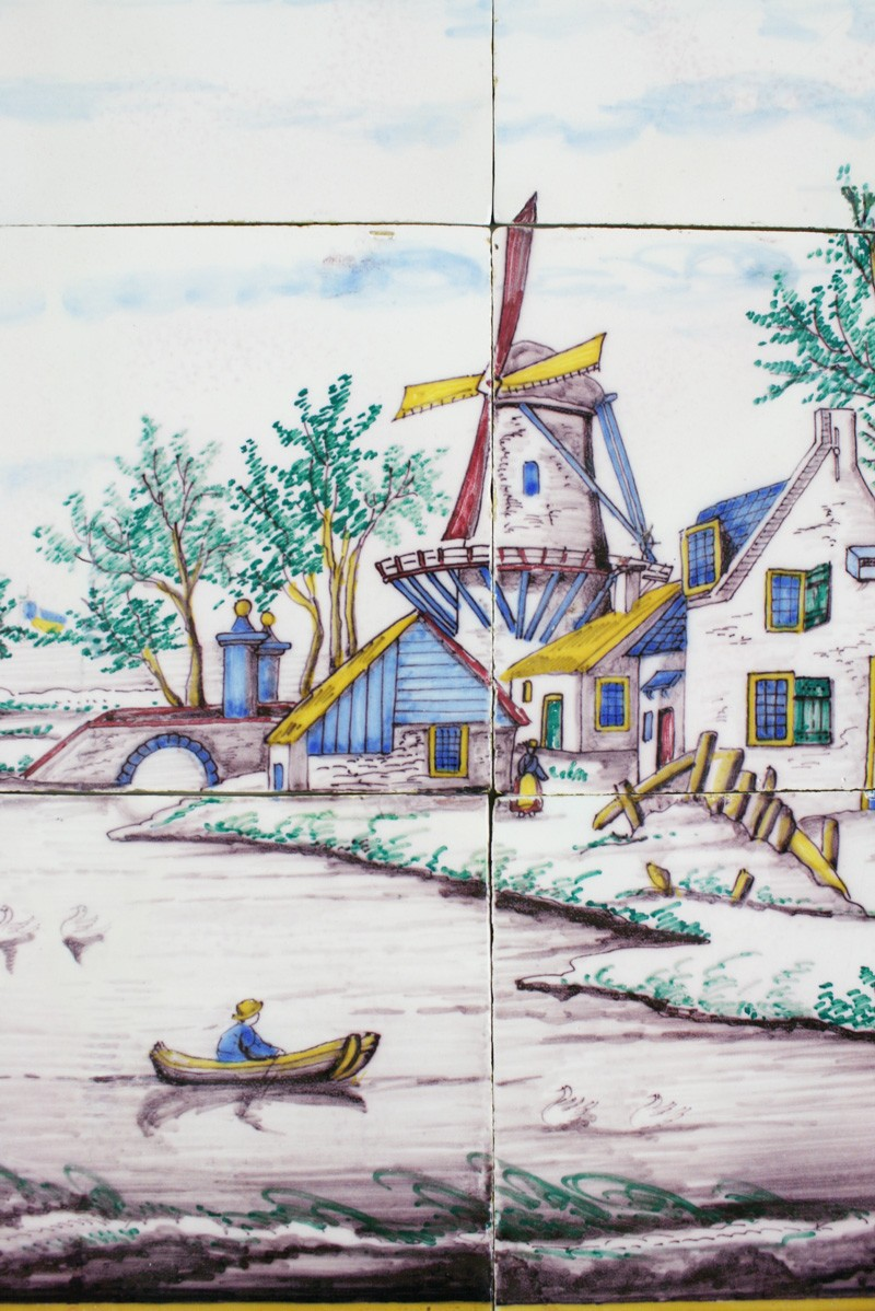 Polychrome antique delft tile mural with a dutch landscape for Delft tile mural