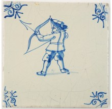 Antique Delft tile with a man firing a bow and arrow, 17th century