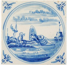 Antique Delft Biblical tile in blue depicting Jonah and the whale, 18th century