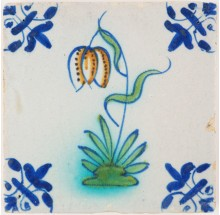 Antique Delft tile with a polychrome flower 'Snake's head', 17th century