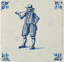 Antique Delft tile with a man smoking a tobacco pipe, 17th century