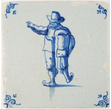 Antique Delft tile in blue with a man skating on ice, 17th century