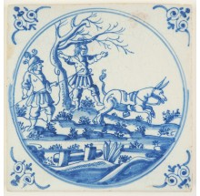 Antique Delft Biblical tile in blue depicting the death of Absalom, 18th century Rotterdam
