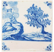 Antique Delft tile depicting the moment that Moses receives the then commandments, 18th century