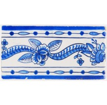 Antique Delft border tile in blue known as the Rose Ribbon, 19th century