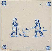 Antique Delft tile depicting two children playing a game of beugelen, 19th century