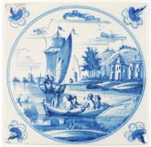 Antique Delft tile with a fine-painted romantic landscape scene with boats and ships, 18th century Amsterdam