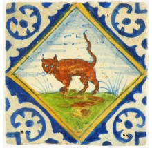 Antique Delft polychrome Diamond Square tile with a cat, 17th century