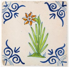 Antique Delft tile with polychrome Daffodil flower, 17th century