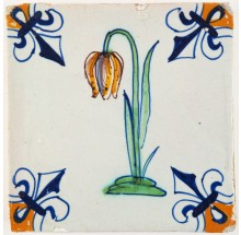 Antique Delft polychrome tile with the Snake's head (Fritillaria meleagris), 17th century