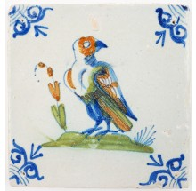Antique Delft tile with a beautiful poychrome hawk, 17th century