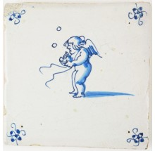 Antique Delft tile with Cupid blowing bubbles, 17th century