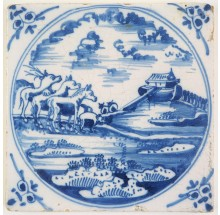 Antique Delft Biblical tile in blue with Noah's Ark, 18th century