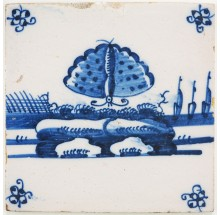 Antique Delft tile with a beautiful butterfly in blue, 18th century