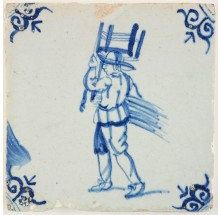 Antique Delft tile in blue with a chair bottomer, 17th century