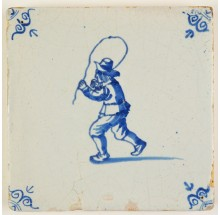 Antique Delft tile in blue with a child playing with a jumping rope, 17th century