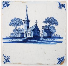 Antique Delft tile with a church and a farm in a typical Dutch landscape, 17th century Harlingen