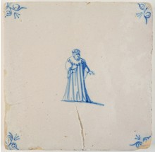 Antique Delft tile depicting a King, 17th century