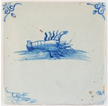 Antique Delft tile with a lobster in blue, 17th century