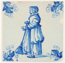Antique Delft tile in blue with a maid sweeping the floor with a broom, 17th century