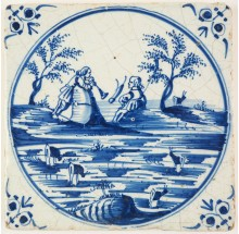 Antique Delft tile in blue with a romantic couple in a idyllic landscape, 17th century