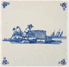 Antique Delft tile with a man mowing the reed with a scythe, 18th century