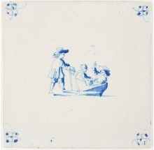 Antique Delft tile with a man skating behind a sledge with two children, 18th century
