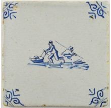 Antique Delft tile with a man skating behind and another figure who fell through the ice, 17th century