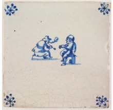 Antique Delft tile with a tavern scene in which one man smokes a tobacco pipe and the other one drinks beer from a jug, 17th century