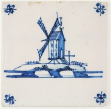 Antique Delft tile in blue with a post mill, 18th century