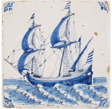 Antique Delft tile with a VOC cargo ship in blue, 17th century